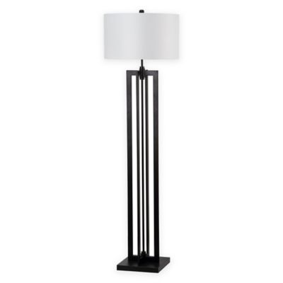 Safavieh Tanya Tower 1-Light Metal Floor Lamp in Black with Shade