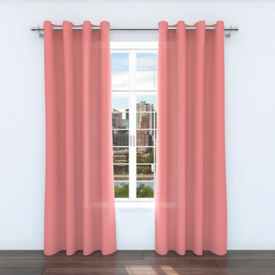 Belle Maison Zane 84-Inch Grommet Top Window Curtain Panels in Coral