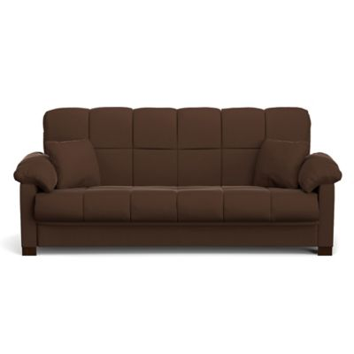 Handy Living Maurice Pillow Top Arm Convert-a-Couch® in Dark Brown