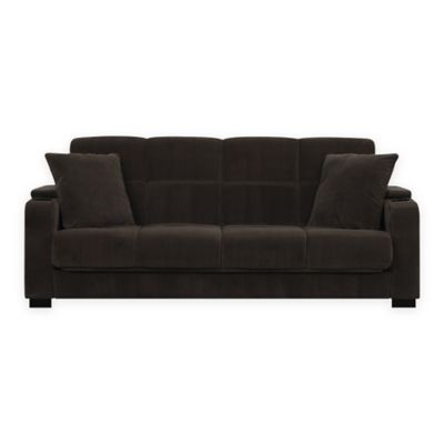 Handy Living Susan Storage Arm Convert-a-Couch® in Brown Velvet
