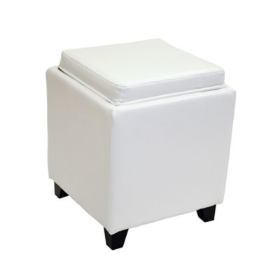 Dubai Contemporary Storage Ottoman with Tray in Sky Blue
