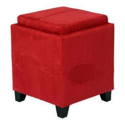 Orlando Microfiber Storage Ottoman in Red