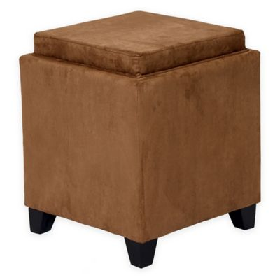 Orlando Microfiber Storage Ottoman in Red