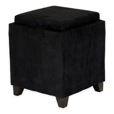 Orlando Microfiber Storage Ottoman in Black