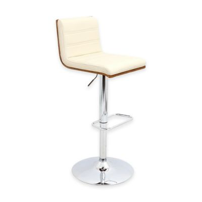 LumiSource Vasari Barstool in Walnut with Grey Seat