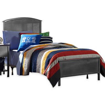 Hillsdale Urban Quarters Full Panel Bed Set with Rails in Steel/Black