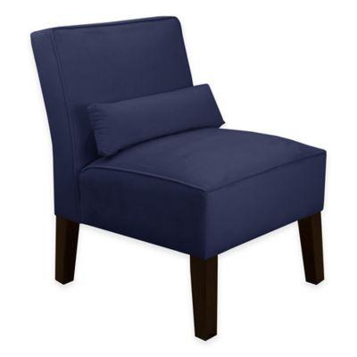 Skyline Furniture Armless Chair in Velvet Navy