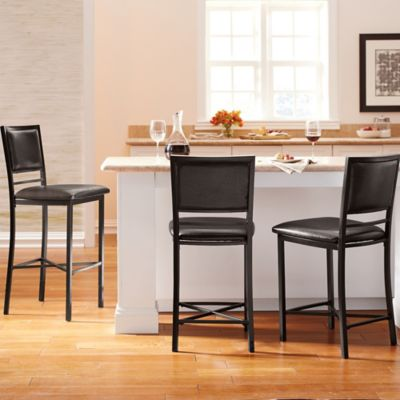 Adjustable Height Metal Barstools in Black (Set of 3)