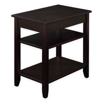 3-Tier Accent Table with USB Power Ports in Espresso