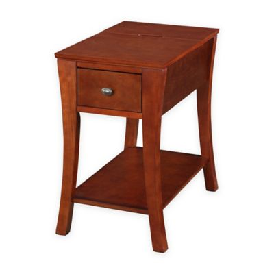 Angled Leg End Table with Drawer and USB Power Ports in Cherry