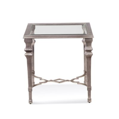 Bassett Mirror Company Sylvia Square End Table in Silver