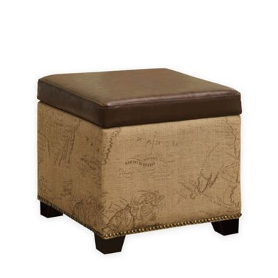 Amelia Storage Ottoman in Brown/Natural Jute