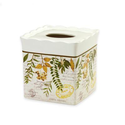Avanti Foliage Garden Boutique Tissue Box Cover in Ivory
