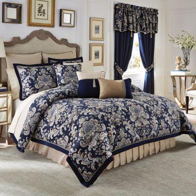 Croscill® Imperial Reversible Queen Comforter Set in Navy/Taupe