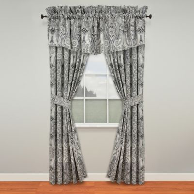 Waverly® Paisley Pizzazz 84-Inch Rod Pocket/Back Tab Window Curtain Panel Pair in Licorice