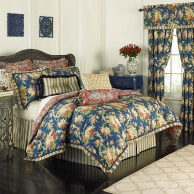 Waverly® Sanctuary Rose Reversible King Comforter Set in Blue
