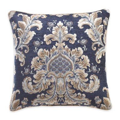 Croscill® Imperial Damask Square Throw Pillow in Navy/Taupe