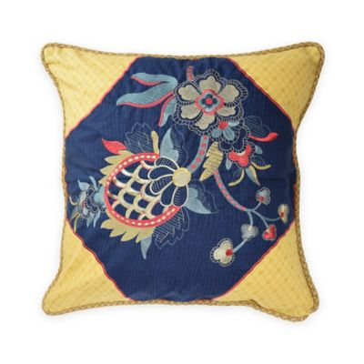 Waverly® Rhapsody Embroidered Square Throw Pillow in Jewel