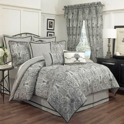 Waverly® Paisley Pizzazz Reversible Queen Comforter Set in Licorice