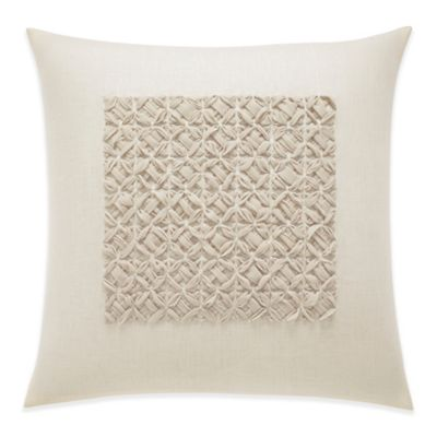 Vera Wang Winter Blossoms Chiffon Cross-Stitch Square Throw Pillow in Ivory