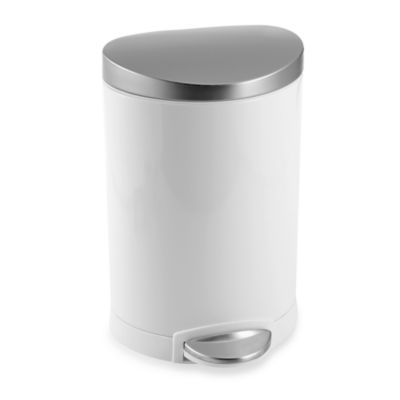 simplehuman Brushed Stainless Steel Fingerprint-Proof 6-Liter Semi-Round Step Wastebasket in White