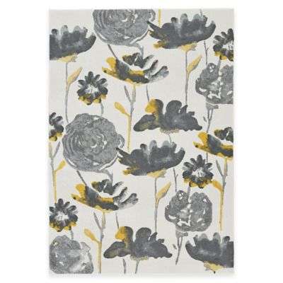 Feizy Farrell Floral 5-Foot x 8-Foot Area Rug in Grey/Yellow