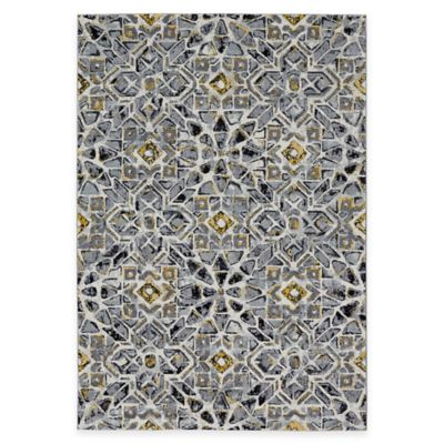 Feizy Farrell Tiles 5-Foot x 8-Foot Area Rug in Grey/Yellow