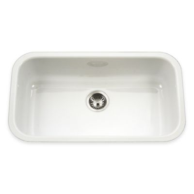 Houzer Porcela Large Undermount Single Bowl Sink in White