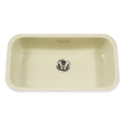 Houzer Porcela Large Undermount Single Bowl Sink in Biscuit