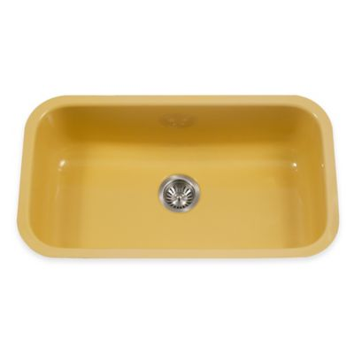 Houzer Porcela Large Undermount Single Bowl Sink in Lemon