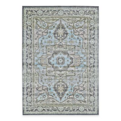 Feizy Landri Center Medallion 8-Foot Round Area Rug in Taupe/Blue