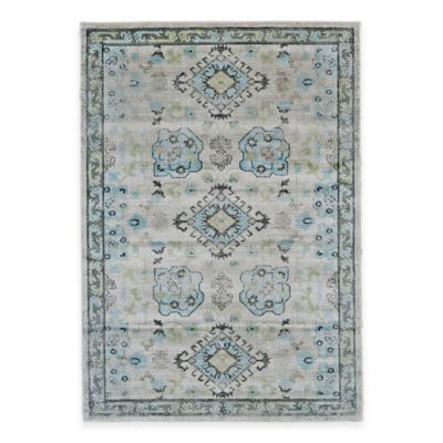 Feizy Landri Border 2-Foot 10-Inch x 7-Foot 10-Inch Runner in Taupe/Blue