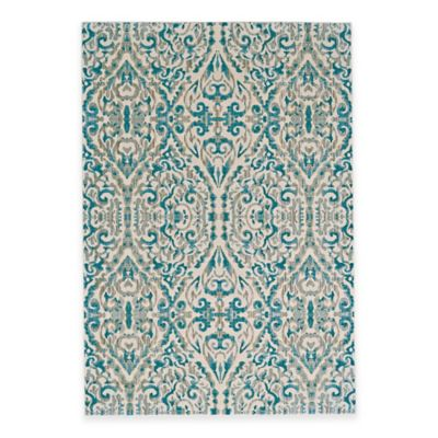 Feizy Keaton Ikat Diamond 9-Foot Round Area Rug in Turquoise
