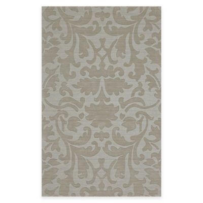 Feizy Crescent Damask 2-Foot 6-Inch x 8-Foot Runner in Light Grey