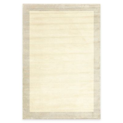 Gray Cream Border Rug