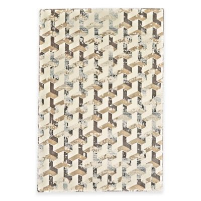 Feizy Settat Geometric 2-Foot 2-Inch x 4-Foot Accent Rug in Silver/Cream