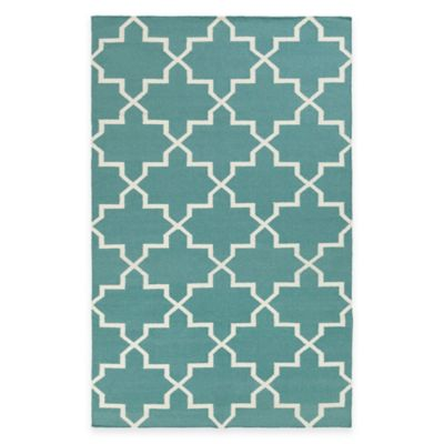 Feizy York Reagan 9-Foot x 12-Foot Area Rug in Teal/White