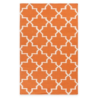 Feizy York Reagan 9-Foot x 12-Foot Area Rug in Orange/White