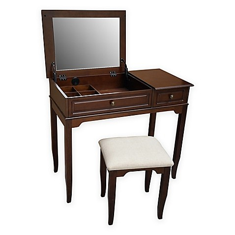 Buy Emily Bathroom Vanity Set With Stool In Walnut From