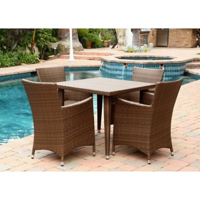 Abbyson Living® Palermo Outdoor 5-Piece Wicker Square Dining Set in Brown