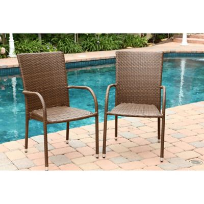 Abbyson Living® Palermo Outdoor Wicker Dining Armchair in Brown (Set of 2)