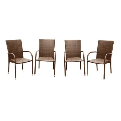 Abbyson Living® Palermo Outdoor Wicker Dining Armchair in Brown (Set of 4)
