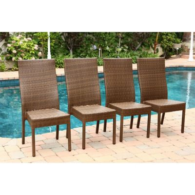 Abbyson Living® Palermo Outdoor Wicker Dining Chair in Brown (Set of 4)