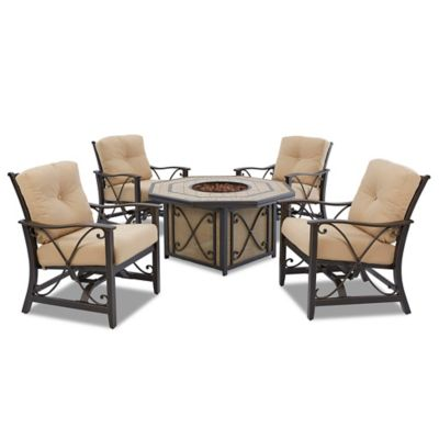 Klaussner Apollo Outdoor 5-Piece Fire Pit Set with Spring Motion Arm Chairs