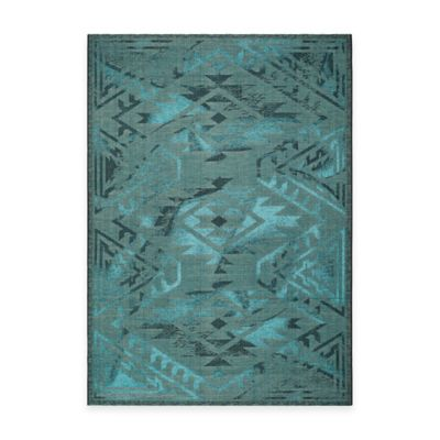 Safavieh Palazzo Southwest 8-Foot x 11-Foot Area Rug in Black/Turquoise