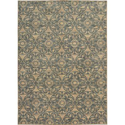 Oriental Weavers Harper Medallion Damask 3-Foot 3-Inch x 5-Foot 5-Inch Area Rug in Beige