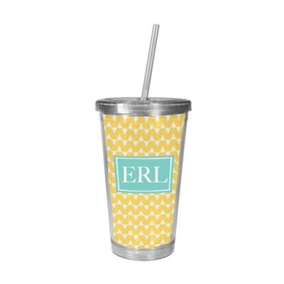 MyDzyne Covered Initials Beverage Cup with Straw