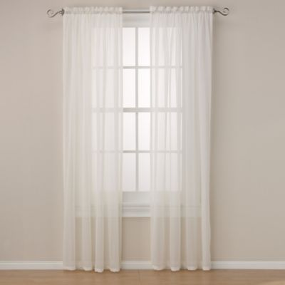 Maracana 84-Inch Rod Pocket Sheer Window Curtain Panel in Linen
