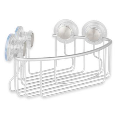 InterDesign® Metro Turn-N-Lock Suction Corner Basket in Silver