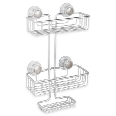 InterDesign® Metro Turn-N-Lock Suction 3-Tier Shower Caddy in Silver